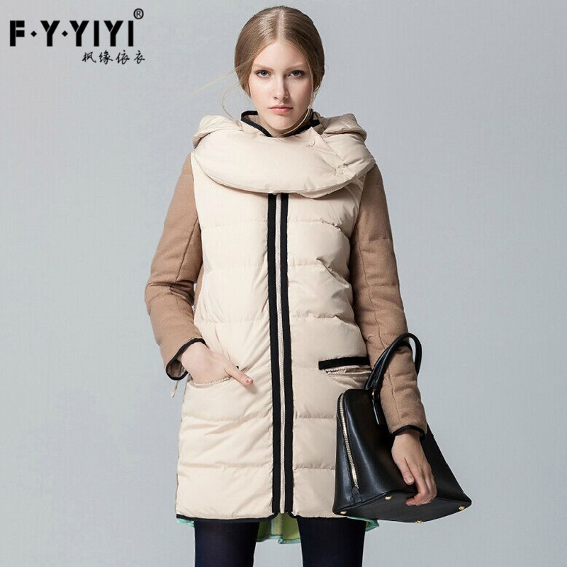 Winter promotion new female money splicing in color white duck down and thicken with long contracted down jacket female coat skinnwille 2016 new products down jacket in winter more female in long white duck down even the chinstrap collars winter
