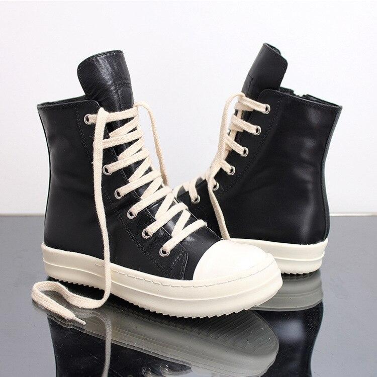 Street Hip Hop รองเท้าผ้าใบเต้นรำ Casual Rock รองเท้าขี้ผึ้งหนังข้อเท้ารองเท้า Classic Lace Up top รองเท้าผู้ชายรองเท้าผ้าใบ-ใน รองเท้าบู๊ทมอเตอร์ไซค์ จาก รองเท้า บน   2