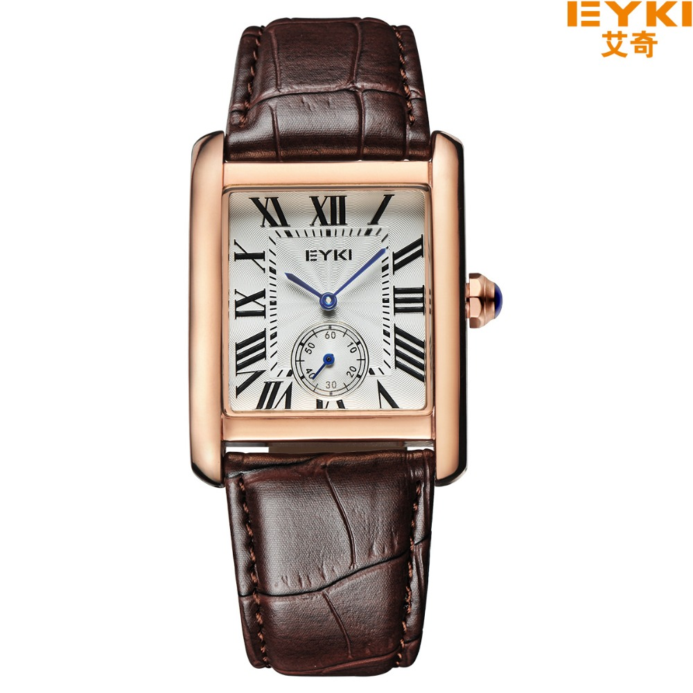 цены Hot Sale Eyki Genuine Leather Strap Couple Watches Formal Roman Scale Rectangle Dial Quartz Watch Ladies Watch Men's Sport Watch