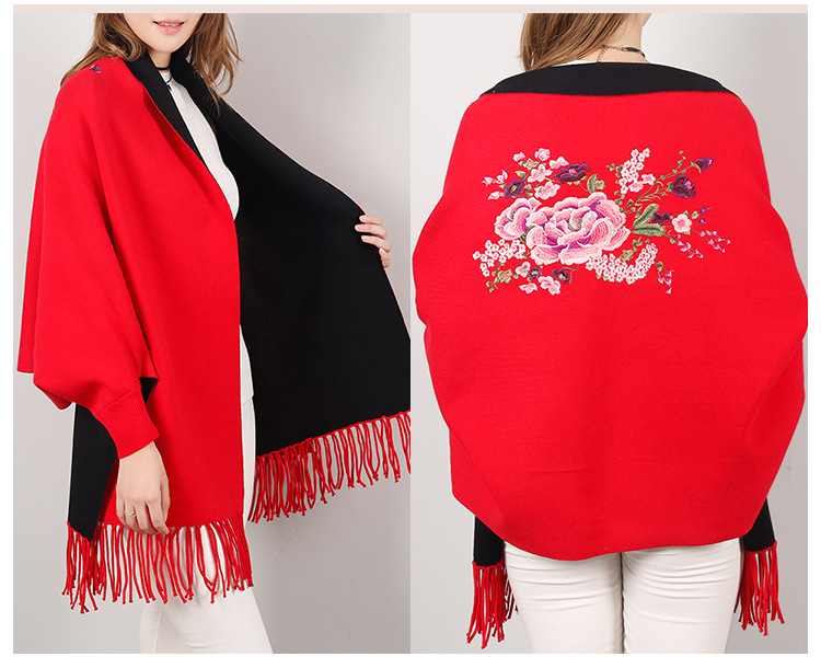 2018 Double Side Scarf Winter Luxury Cashmere Poncho Women Solid Female Long Sleeves Wrap Vintage Shawl With Back Floral in Women 39 s Scarves from Apparel Accessories