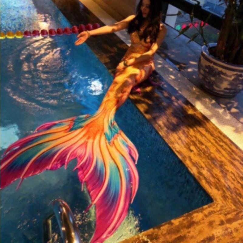 Queue de sirène personnalisée avec Monofin beauté maillot de bain palmé Aquarium Performance Super queue sirène Cosplay 3 pièces Bikinis ensemble