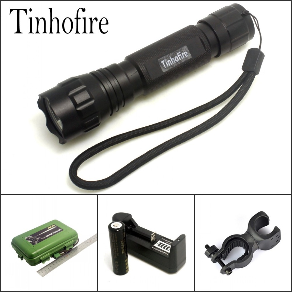 Tinhofire 501B XML T6 L2 LED 2000 Lumens 5-mode LED Flashlight Torch Lamp Camping Fishing Bike Light with battery and charger