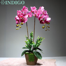 Purple Spot Orchids Flower Arrangment (2 Orchid +2 Leaf) Real Touch Wedding Dining-table Decoration Event Free Shipping
