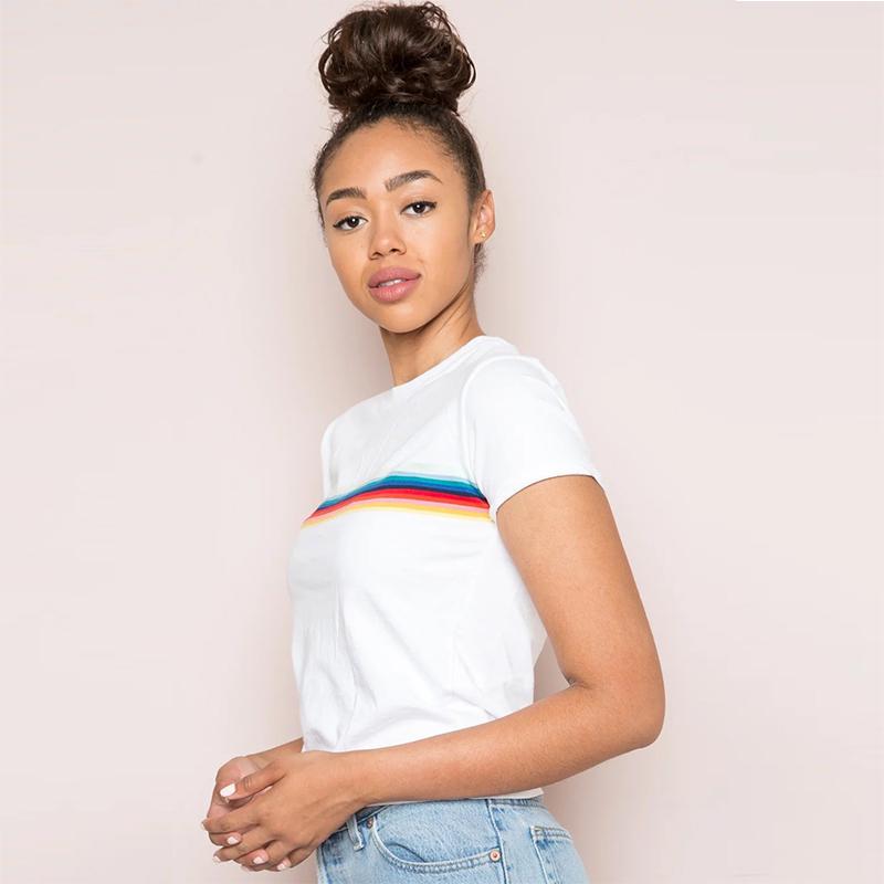 HTB1EjZHPVXXXXX1apXXq6xXFXXX1 - Rainbow Stripes Crop T-shirt PTC 141