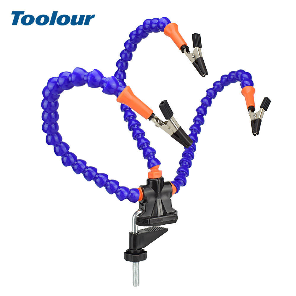 Toolour Bench Vise Table Clamp Soldering Station with 3pc Flexible Arms Soldeirng Iron Holder PCB Welding Repair Third Hand Tool|Electric Soldering Irons| |  - title=