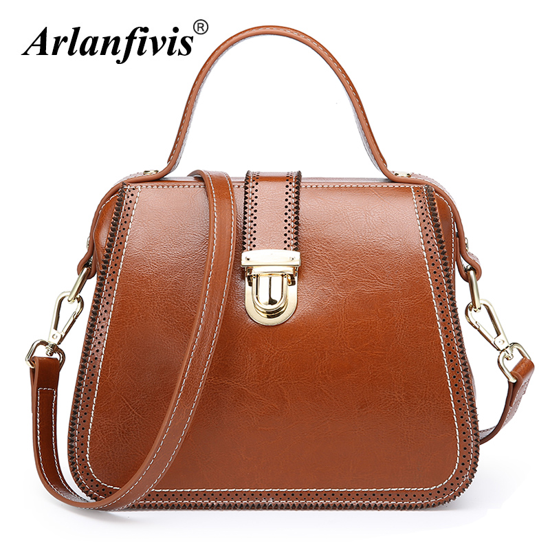 Arlanfivis Genuine Leather New 2018 Fashion Doctor Bag Vintage Lock bowknot Women Leather Handbag Cowhide Female Messenger Bags arlanfivis genuine leather new designer 2018 fashion woman bag cowhide large capacity female handbag wide strap crossbody bags