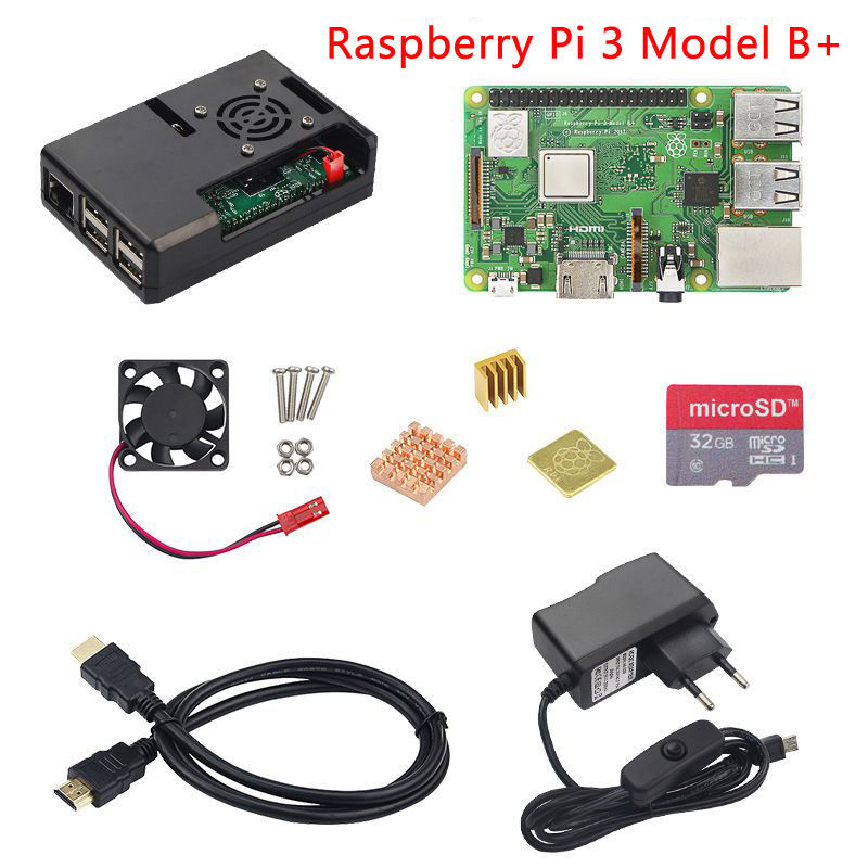 Raspberry Pi three Mannequin B Or Raspberry Pi three Mannequin B Plus + Abs Case + Cooling Fan +Sd Card + Warmth Sink + Energy Adapter + Hdmi Cable