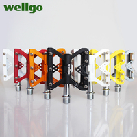 WELLGO C225 pedal road bicycle Mountain bike pedal Aluminum alloy Anti skid pedal chromium molybdenum steel axis