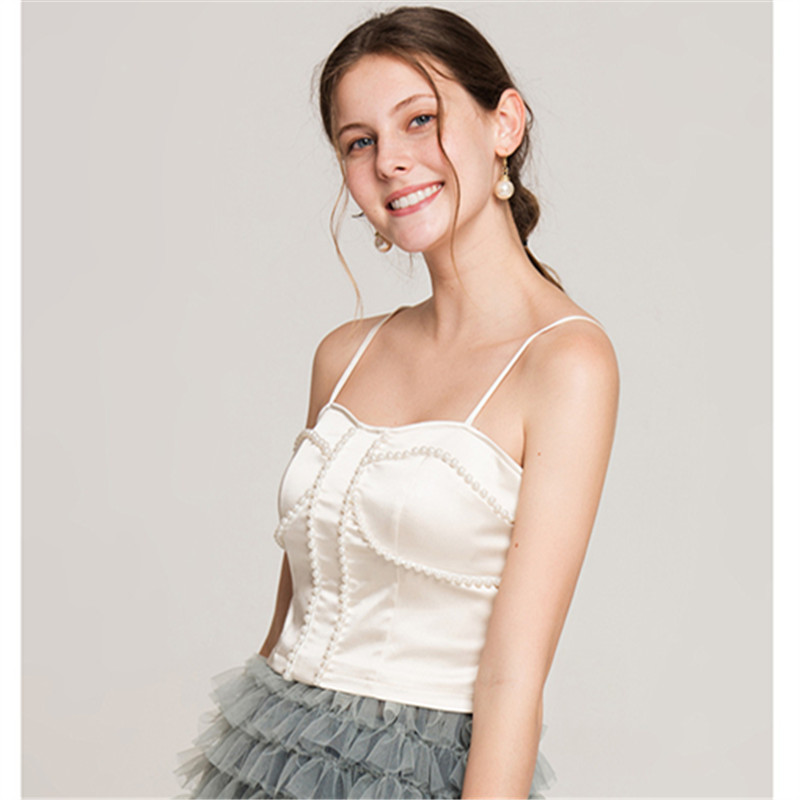On Trend And Elegant Looks For: New Arrival Women Top Camis Beige Color With Beadings