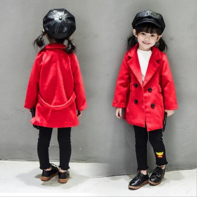 Новая Мода 2016 Детей И Пиджаки Длинный Двубортный Красный Шерстяное Пальто Для 2-8Years Весна Осень Дети Куртки и Пальто Ребенка Кардиган