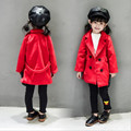 New Fashion 2016 Children Outwear Long Double-breasted Red Wool Coat For 2-8Years Spring Autumn Kids Jackets&Coats Baby Cardigan