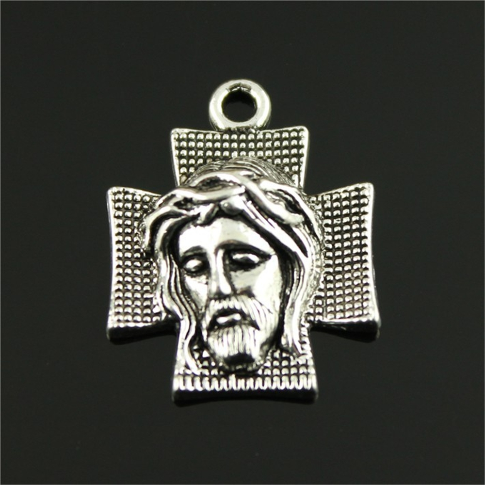 ჱ25 unids 22*28mm color plata antigua Jesús en la cruz, encantos ...