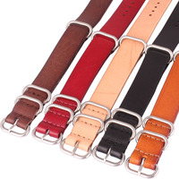 20mm Rings Buckle Genuine Real Leather Watchband Watch Bracelet Strap Wristwatch Band 20 Mm