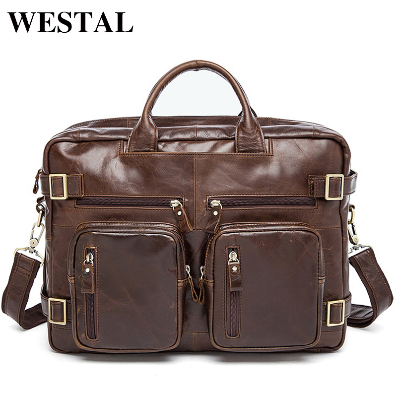 WESTAL Men's Briefcases Genuine Leather Laptop Bags Men Messenger Bag Men Leather Computer/Document Bag Male Briefcases Totes