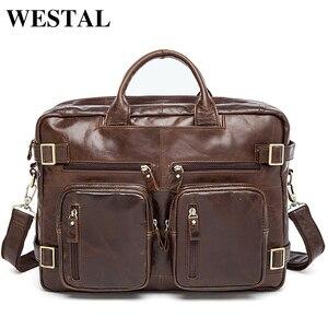 WESTAL Multifuction الرجال حقائب الحقائب المحمولة 14 حقيبة جلدية للمستند الرجال الكمبيوتر حقيبة ساعي بريد للرجال حقائب جلدية