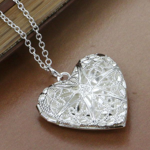 P185 fashion jewelry chains necklace silver plated pendant Heart-shaped net flower photo frame /dtpa mkwa - Fancy True Love Jewelry Trade Co.,Ltd store
