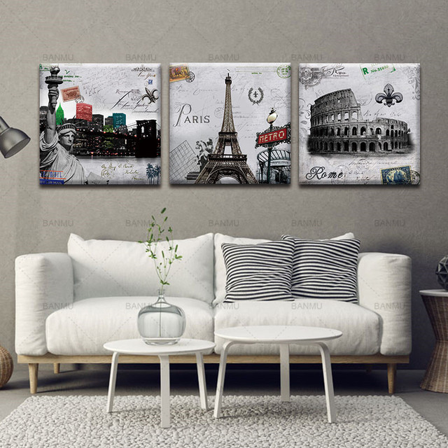 Canvas Painting Wall Art Pictures prints on Paris Roman Wall 3 Piece ...
