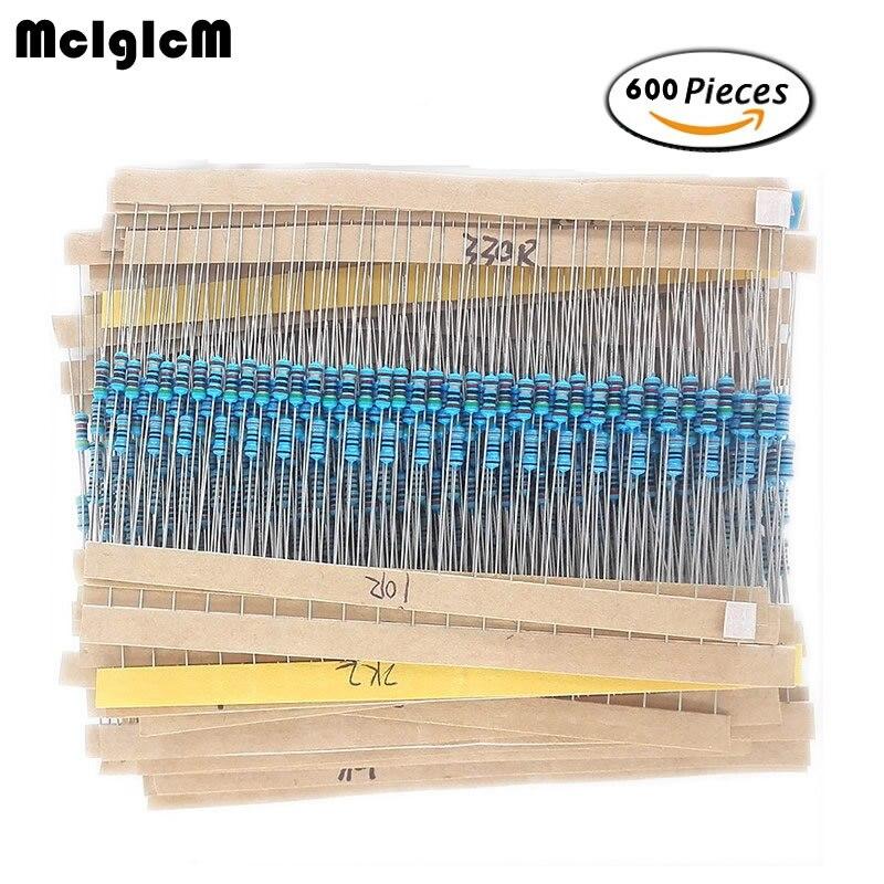 30 Kinds Each Value Metal Film Resistor Pack 1/4W 1% Resistor Assorted Kit Set Diy Electronic