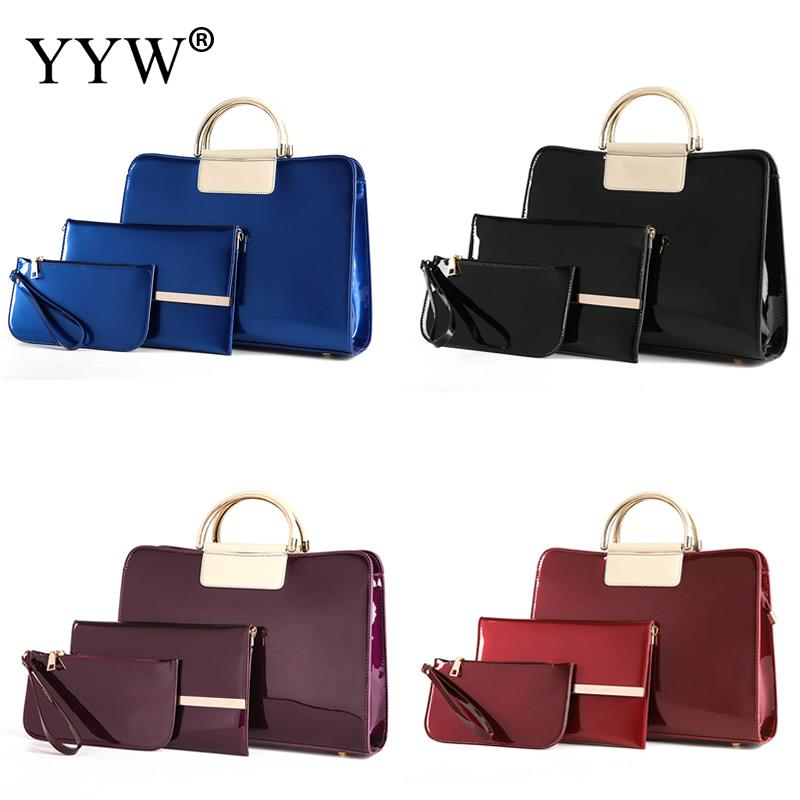 3 PCS/Set Red PU Leather Handbags Women Bag Set Famous Brands Tote Bag Lady's Shoulder Bags Top-Handle Clutch Bag Womens'Pouch