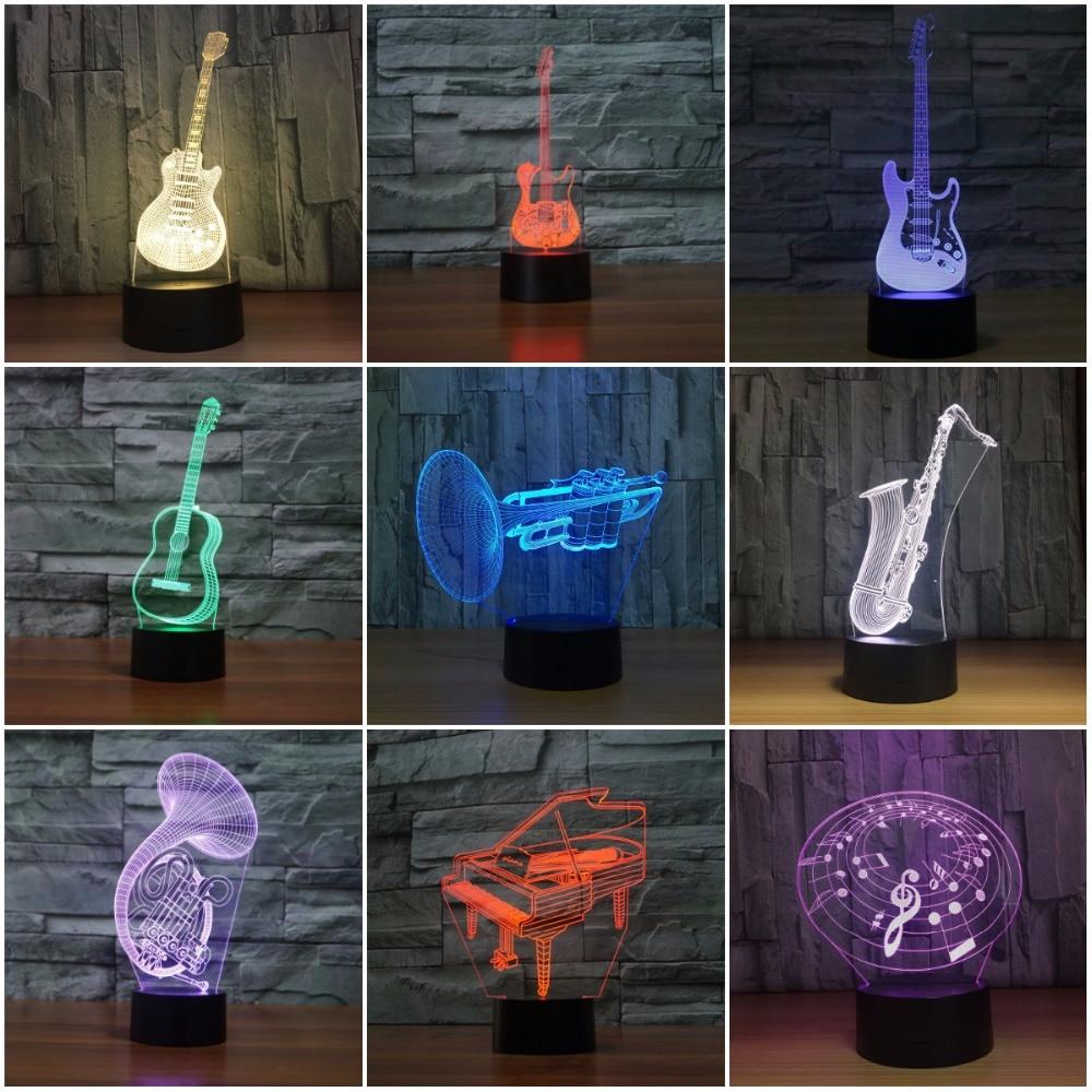 Guitare électrique saxophone piano 3D lampe LED veilleuse 3D lumière acrylique lampara atmosphère lampe de table nouveauté éclairage intérieur