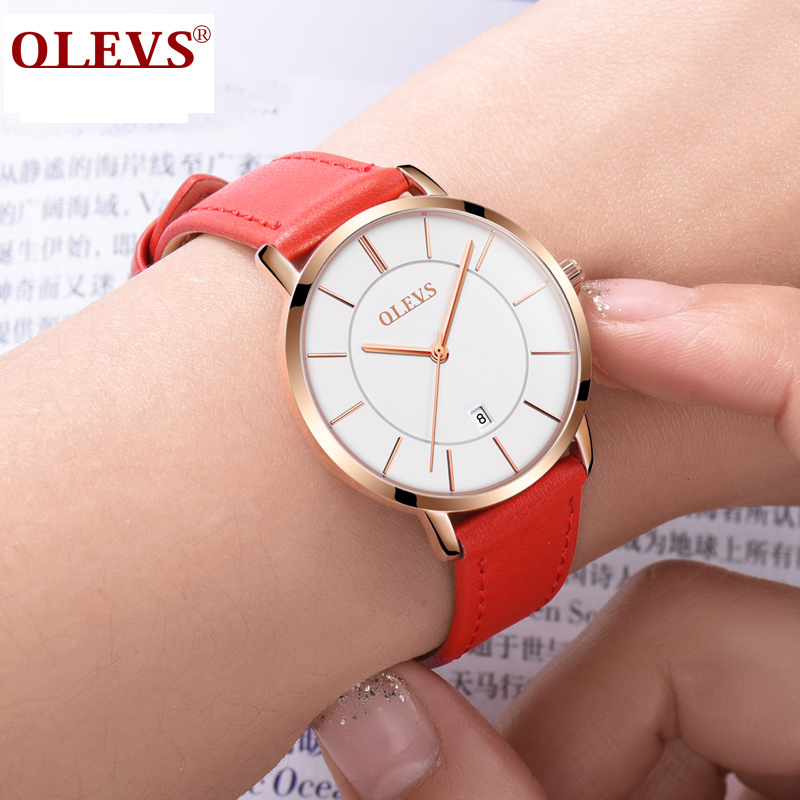 OLEVS Quartz Watch Women Sport Ultra thin Watches Famous Brand Luxury Rose Gold Watch For Girls Ladies Red Leather Wrist Watches duoya 2017 fashion ladies watches women luxury leaf fabric gold wrist for women bracelet vintage sport clock watch christmas gif