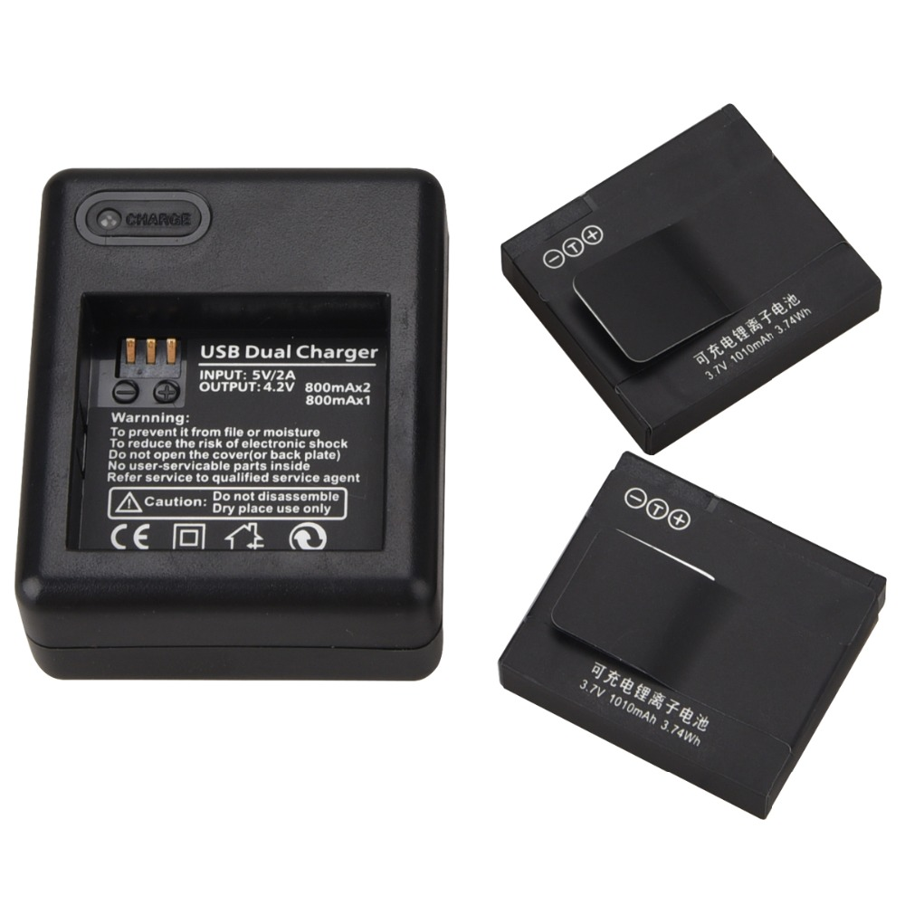 for Xiaomi yi 2pcs 1010mAh battery + USB battery charger For xiaomi yi action camera