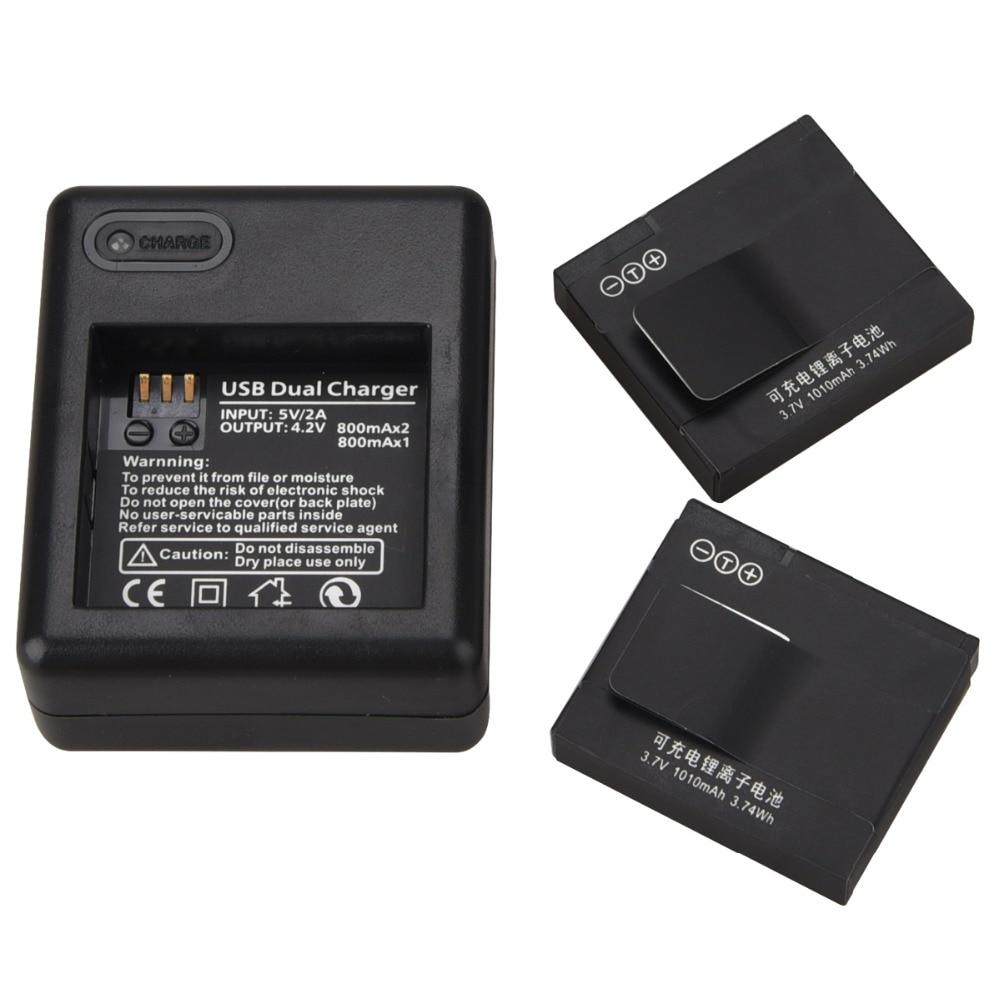 for Xiaomi yi 2pcs 1010mAh battery + USB battery charger For xiaomi yi action camera