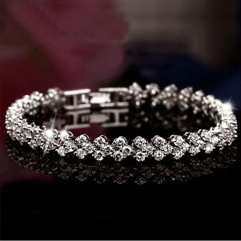 Hot Sales 925 Sterling Silver Roman Chain Bracelet for Women Shining AAA Cubic Zircon Crystal Charm bracelets wedding Jewelry