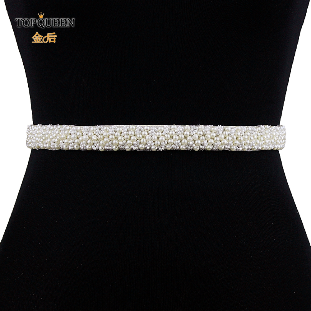 TOPQUEEN S204 Wedding Belts Sashes Pearl Beaded Evening Party Gown Dresses Accessories Bride Waistband Bridal Sashes Girl Belt