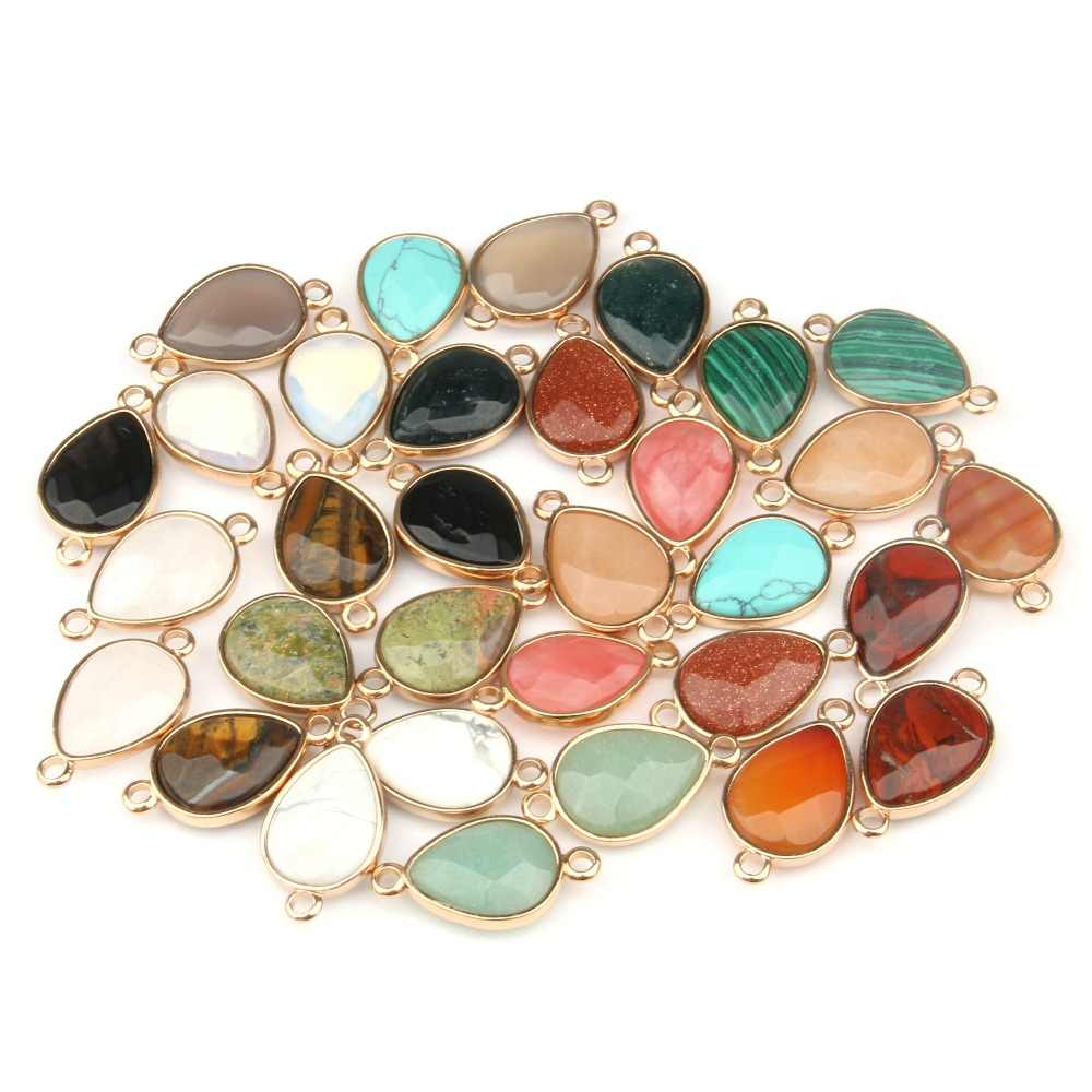 Wholesale Water Drop Shape Natural Stone Rose Quartzz /Tiger Eyes Pendant  DIY for Necklace or Jewelry Making 16 Color