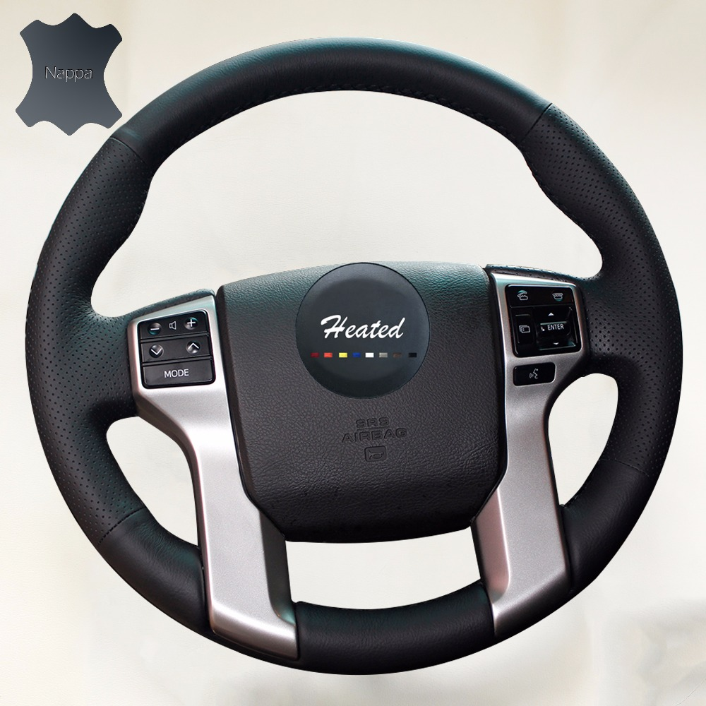 nappa leather steering wheel cover for toyota land cruiser prado 2010 2015 tundra tacoma 4. Black Bedroom Furniture Sets. Home Design Ideas