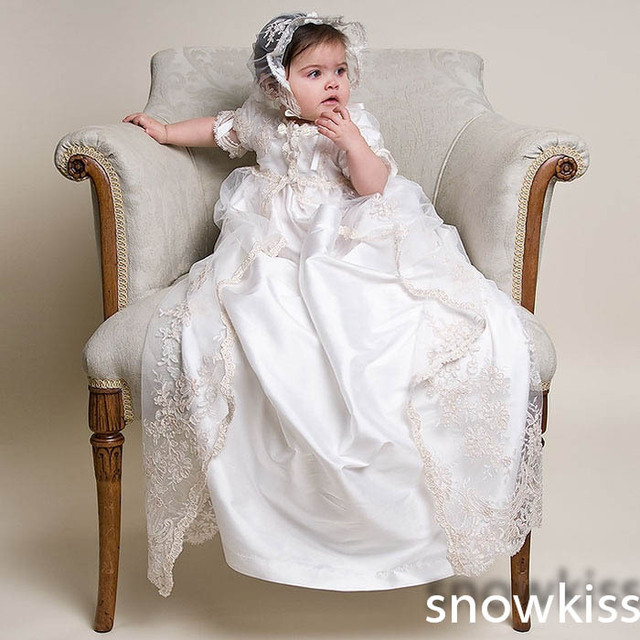 2016 Lace Short Sleeves Newborn Long Christening Dress Baptism Robe Gowns for baby girl boys with bonnet hair accessories