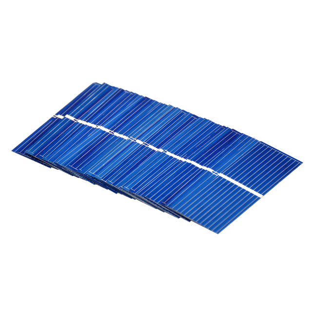AIYIMA 100pcs 0.5 V Solar Panel 52x19mm Polycrystalline Silicon Photovoltaic Solar Panels Sunpower Cells DIY Cell Phone Charger