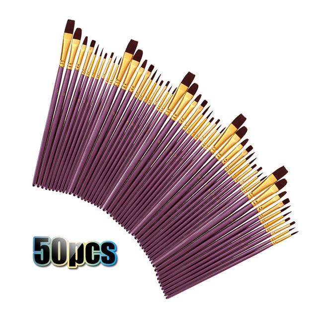 50 PCS ניילון שיער מברשות צבע סט אמן מכחול הרבה מרובה מדיומים מברשות צבעי מים גואש שמן ציור ציור