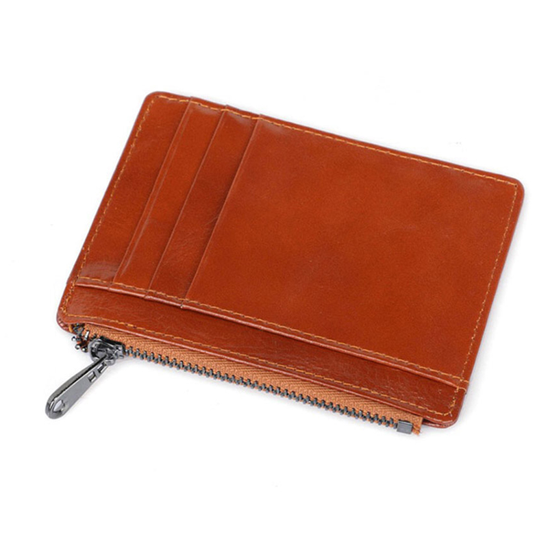 cow genuine leather slim thin fashion women men small wallet driver license bank card zipper solid coin pocket rfid sale Purse in Wallets from Luggage Bags