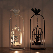 Creative hanging bird stand top chain cage wrought iron candlestick romantic European style wind lamp home decorati