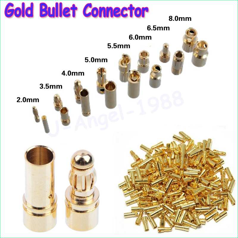 40pcs/lot 2.0mm 3.0mm 3.5mm 4.0mm 5.5mm 6.0mm 8.0MM Gold Bullet Banana Connector plug for ESC Lipo RC battery Plugs (20 pair) 10pair 3 5mm gold bullet banana connector plug with protective sleeve for esc battery motor