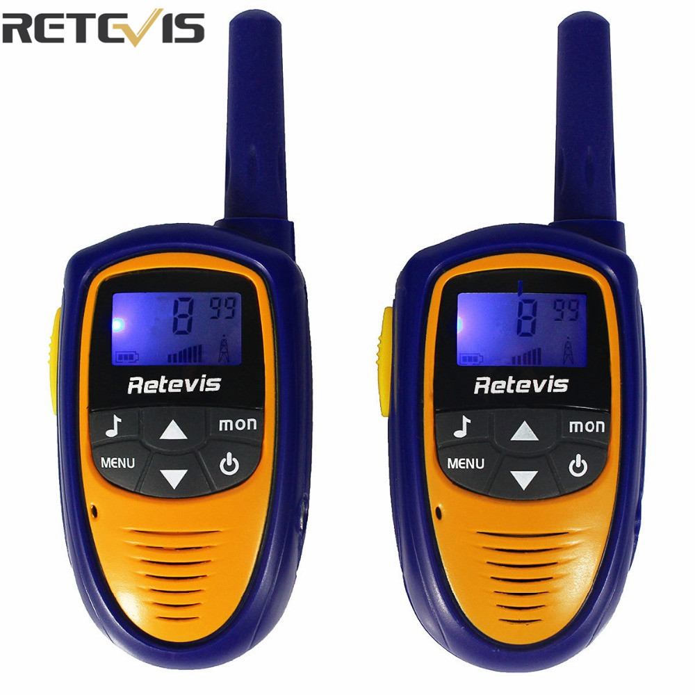 imágenes para 2 unids Mini Walkie Talkie Retevis Kids Toy ROMERO RT31 PMR446 8CH 0.5 W UHF 446.00625-446.09375 Mhz VOX LCD Radio pantalla Niños A9112M
