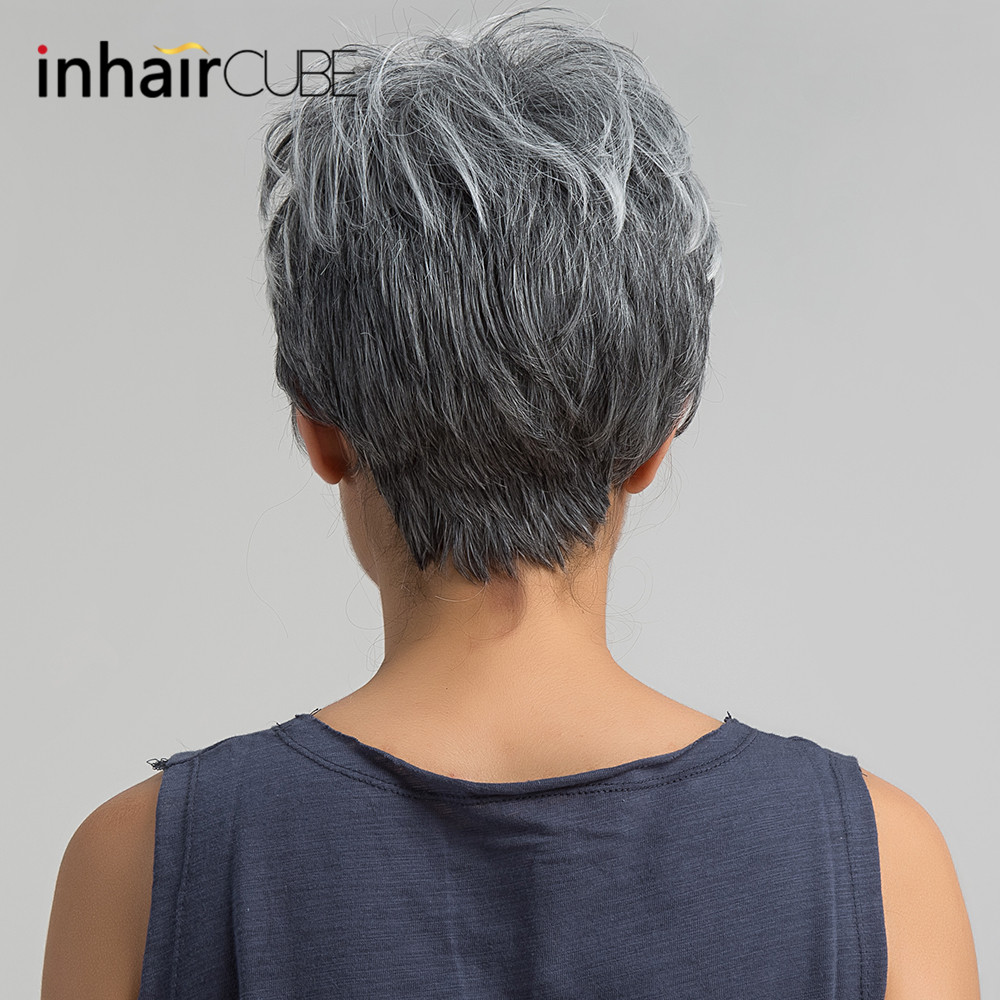 Us 14 06 43 Off Esin Short Hair Wig Pixie Cut Light Grey Hair Wig Ombre Highlights Side Bangs Synthetic Short Straight Wig For Women 2 Colors On