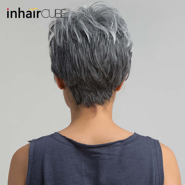 Us 14 8 40 Off Esin Short Hair Wig Pixie Cut Light Grey Hair Wig Ombre Highlights Side Bangs Synthetic Short Straight Wig For Women 2 Colors على