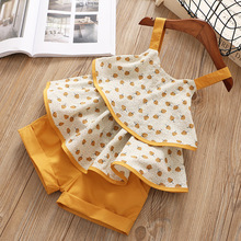 Girls Clothing Sets Summer Casual Dot Print Kids Clothing Sets Sleeveless Chiffon T-shirt+Shorts 2PCS New Children Girls Suit mini cartoon style 2016 new baby girls clothing sets 2pcs cotton suit dot children girls cute clothing sets shirt pants skirt