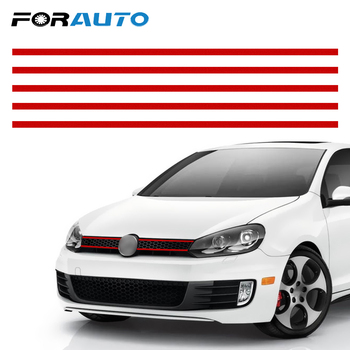 FORAUTO Car Front Hood Grille Decals Car Strip Sticker Reflective Stickers Auto Decoration Car Styling For VW Golf 6 7 Tiguan image