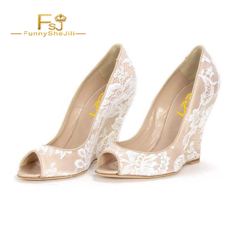 8eea43c3be8d Women s Nude Peep Toe Wedding Shoes Lace Wedge Heel Pumps FSJ Embroider  Bride White Shoes Slip