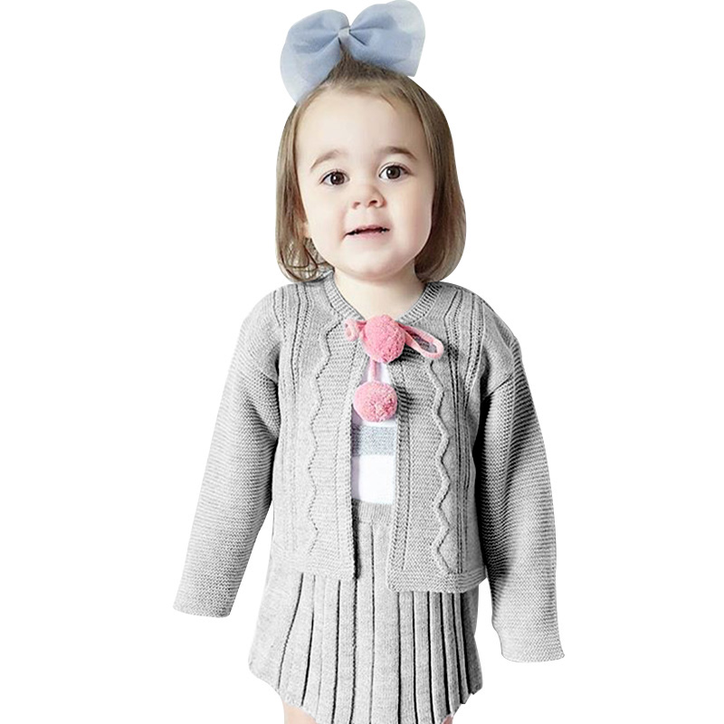 British Girls Sweater Set Long Sleeve Cardigan Ruffles Dress Cotton Solid Girls School Clothes New Autumn Kids Sweater Coat 1-6T new autumn sweet girls sets two piece cardigan outwear cape jacket long sleeve dress cotton lace kids girls clothes sets