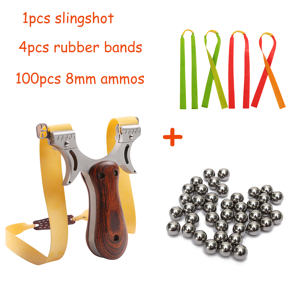 Stainless Steel Slingshot Catapult For Hunting 5 Points Aiming Powerful Sling Shot Wooden Riser With Flat Rubber Band