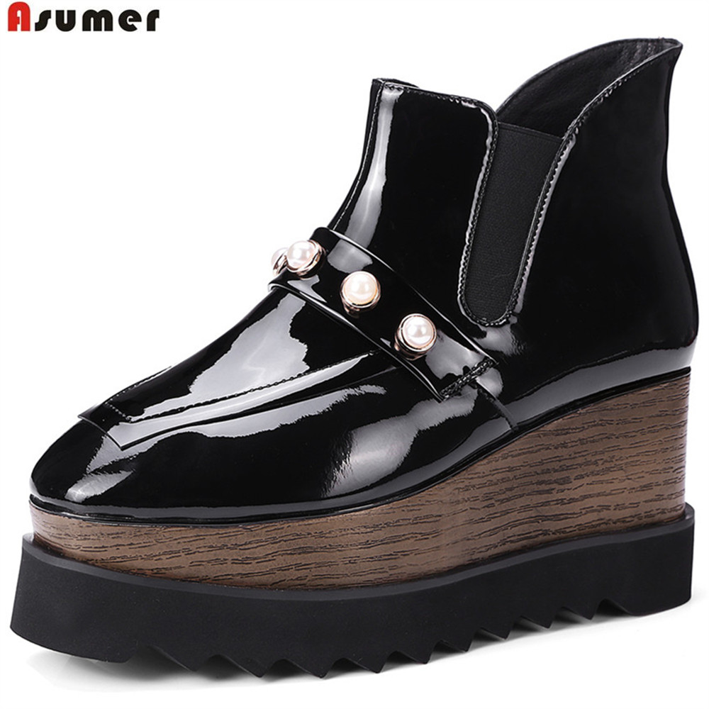 ASUMER black white fashion sexy Apring autumn new shoes woman boots square toe platform wedges genuine leather high heels boots цена 2017