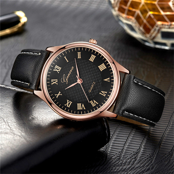 Luxury  Vintage Style Leather Strap Wrist Watch For Ladies with Roman Numbers Dial Rose Gold Case Clock