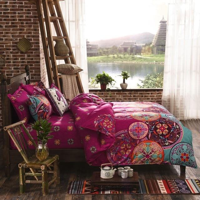 Pink Bohemian Oriental Mandala Bedding Quilt Duvet Cover Set Single Queen King 1