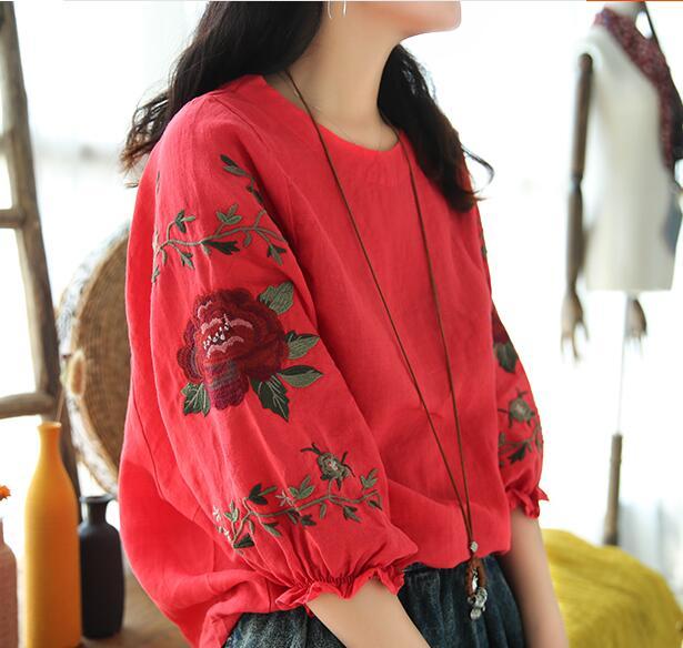 5 colores --- Flor mangas bordado manga de soplo del o-cuello camisa de lino sup