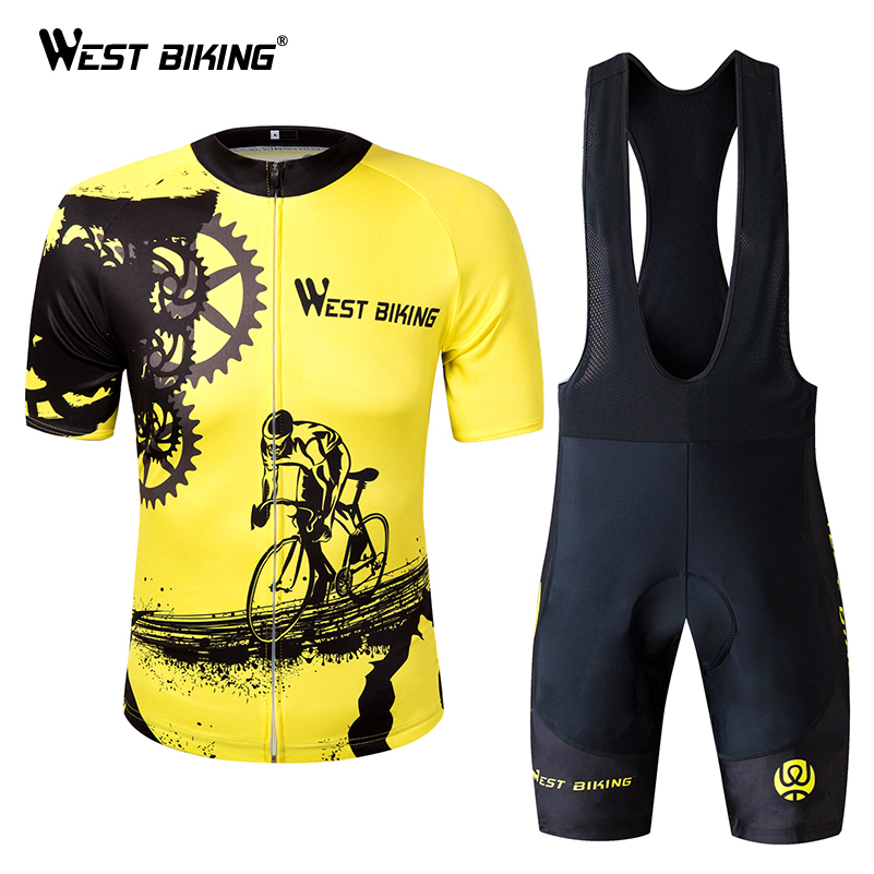 WEST BIKING Summer Men Cycling Clothing Breathable Mountian MTB Bike Bicycle Clothes Ropa Ciclismo Quick-Dry Cycling Jersey Sets цена